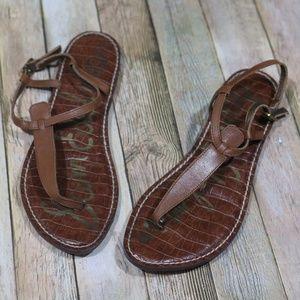 Sam Edelman Gigi Leather Thong/T-Strap/Flat Sandal